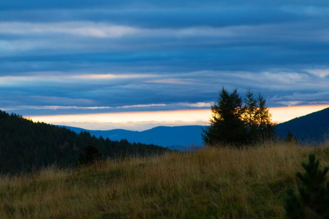 Ausblick aus der Almhütte auf Almwiesen bei Sonnenaufgang